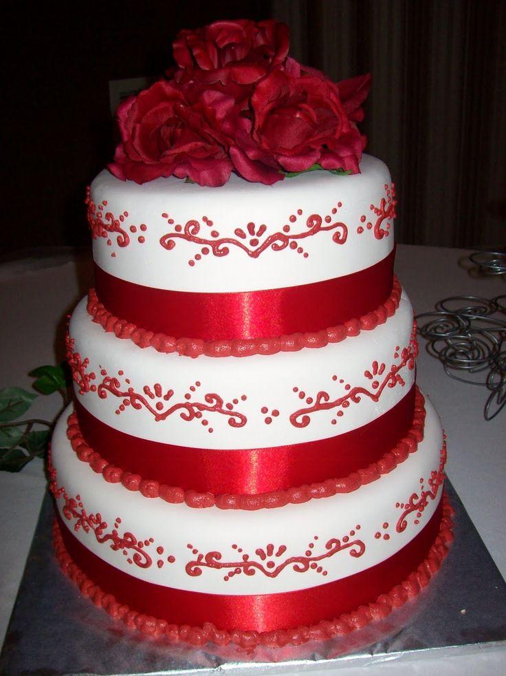 Beautiful Red and White Wedding Cake 19