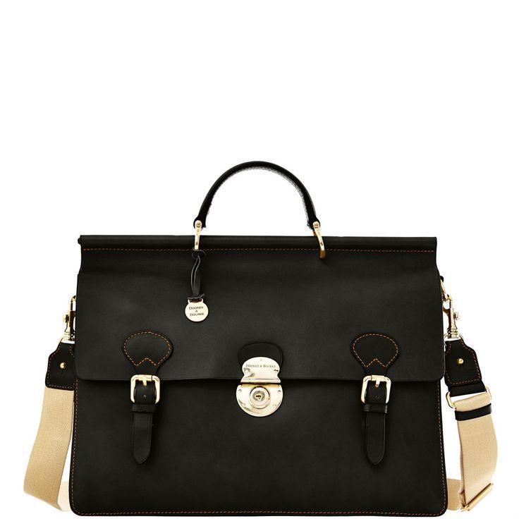 Dooney & Bourke |Alto Double Gusset Buckle Briefcase  |#ColorWatch2016   Black Handbag | Black Accessory | Black Accessories | Black Purse | Fashion | Style