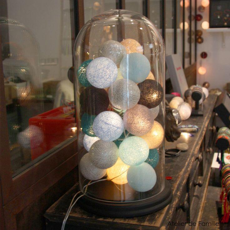 Guirlande lumineuse 20 boules en coton longueur 5m Atelier de famille
