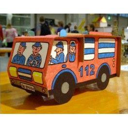 Camion de pompier en carton à assembler et à colorier, avec 6 feutres