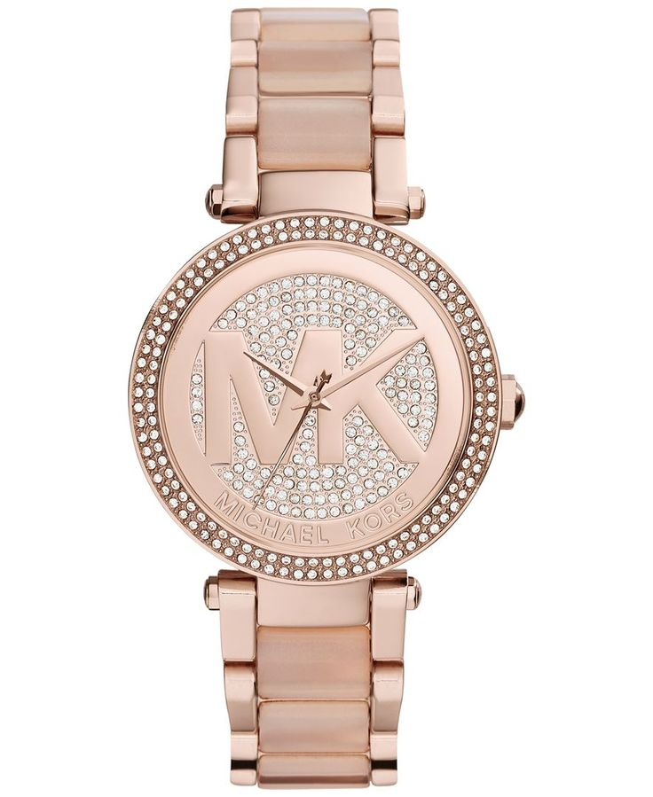 Michael Kors Women's Parker Blush Acetate and Rose Gold-Tone Stainless Steel Bracelet Watch 39mm MK6176 - A Macy's Exclusive