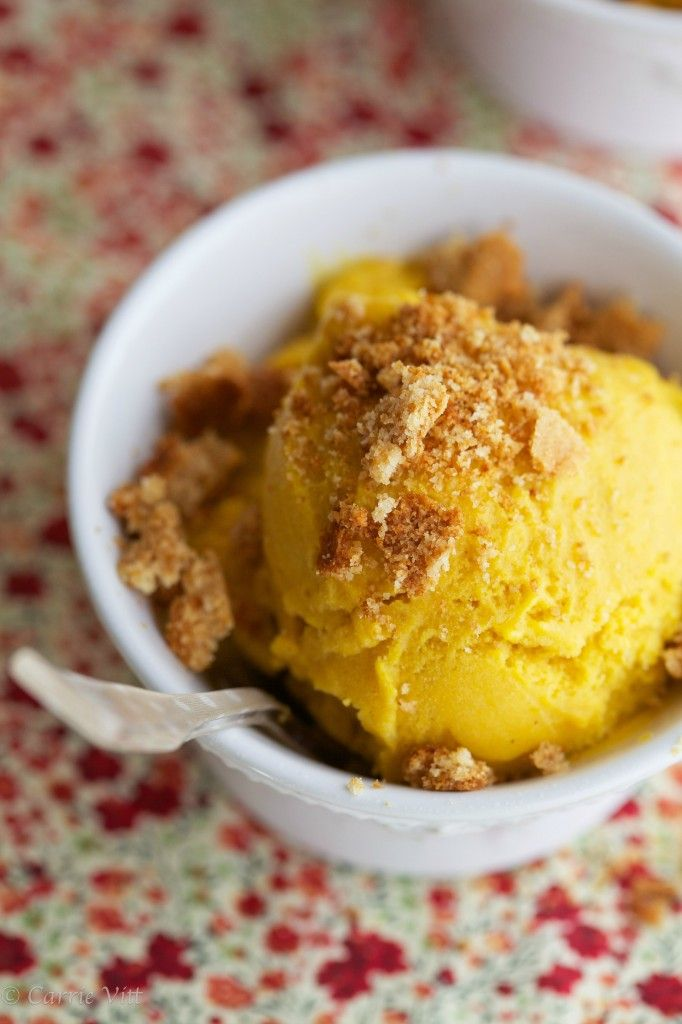 Pumpkin ice cream with crushed homemade graham crackers sprinkled overtop. Pure, fall bliss in a bowl.