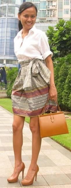 Batik skirt and killer nude heels