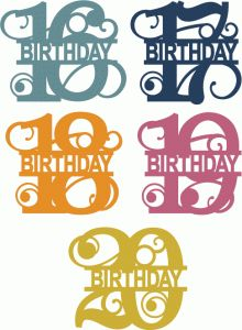 Silhouette Design Store - View Design #66655: split flourish birthday numbers 16-20