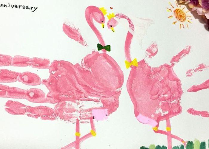 2人の手形を記念に残そう♩カラフルでおしゃれな『手形アート』を結婚式に飾りたい♡のトップ画像