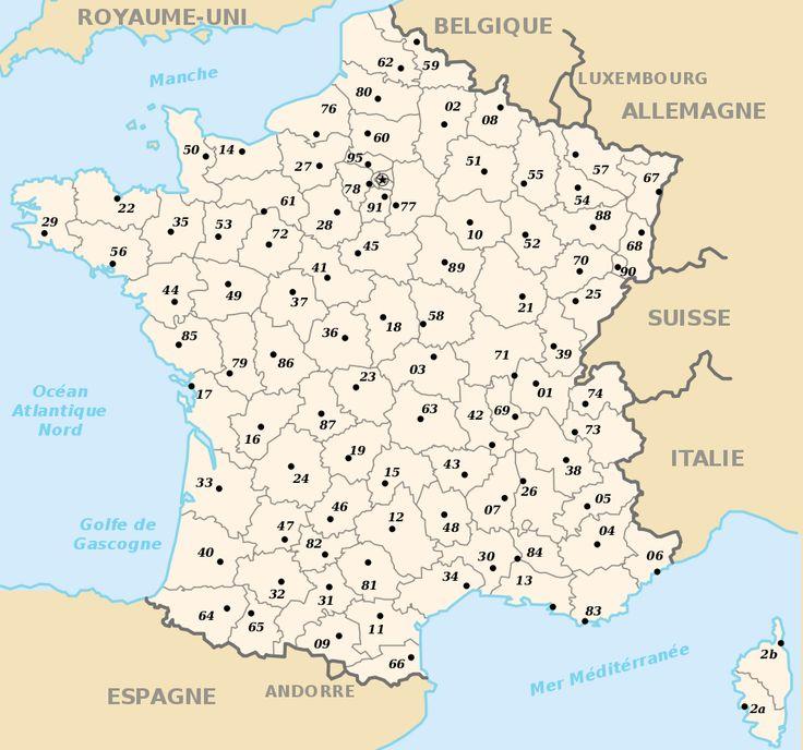 Fond de carte de France avec numéros des départements