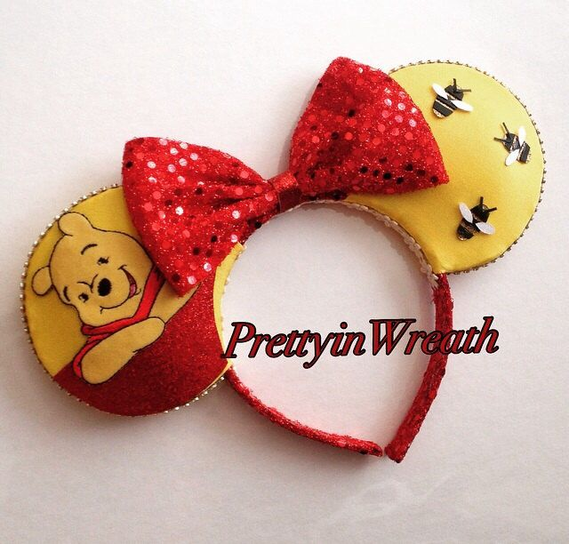 Winnie the Pooh inspired Mickey Mouse ears headband by PrettyinWreath on Etsy https://www.etsy.com/listing/231519344/winnie-the-pooh-inspired-mickey-mouse