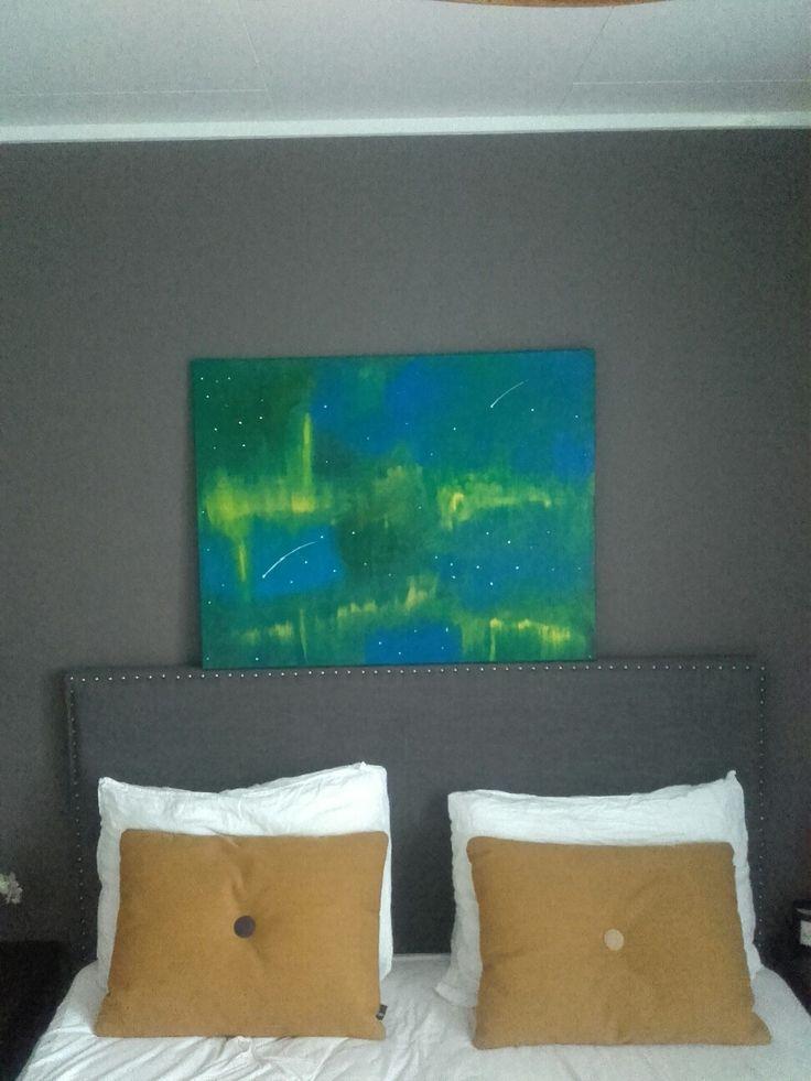 Aurora Borealis/ Nordlys/ The nothern light.  Acrylic on  canvas.
