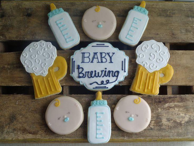 """Baby Brewing"" baby shower cookies"