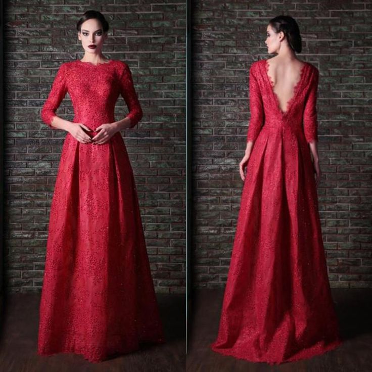 Wholesale cheap evening dresses online, 2014 spring summer - Find best vintage red crew neck 3/4 long sleeves rami kadi evening dress lace floor length a-line backless formal wedding party dresses gowns 2014 hot at discount prices from Chinese evening dresses supplier on DHgate.com.