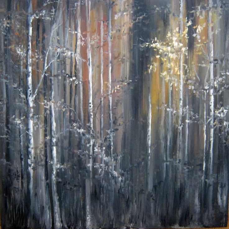 Birch forest, oil painting on cardboard
