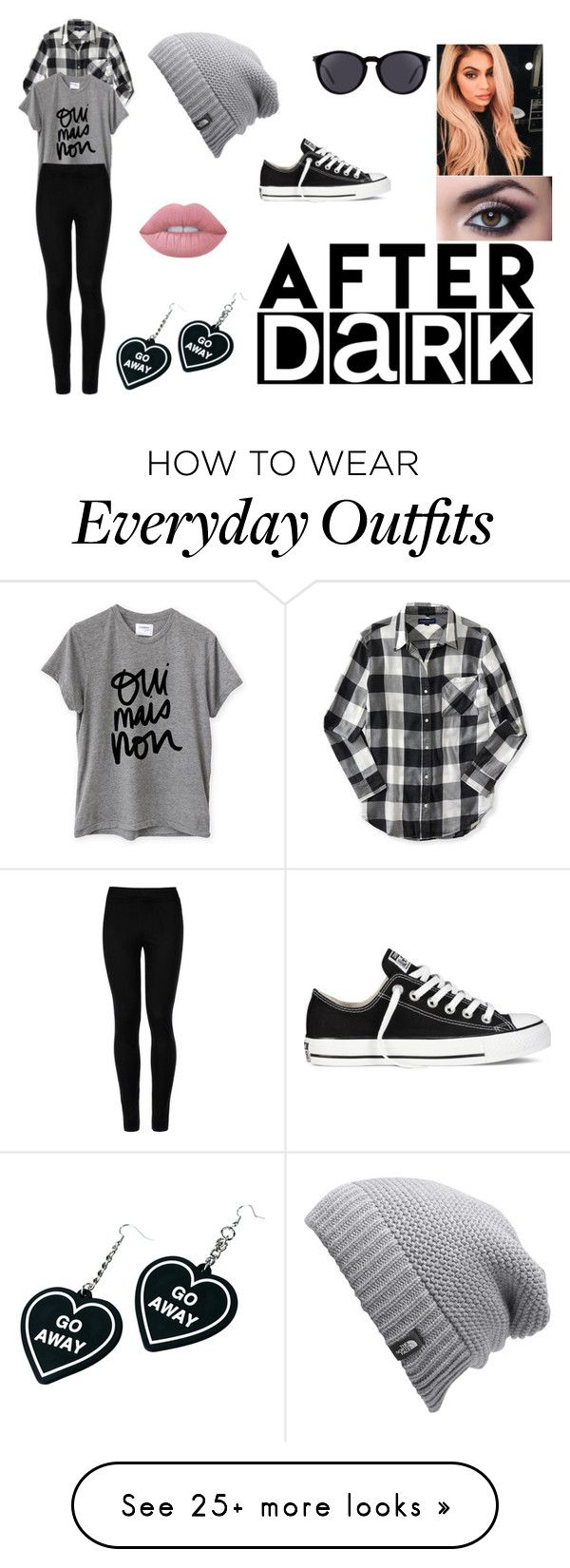 """My Everyday Outfit"" by katerinapatrovatvd on Polyvore featuring Yves Saint Laurent, The North Face, Aéropostale, Sincerely, Jules, Wolford, Converse, Witch Worldwide and Lime Crime"