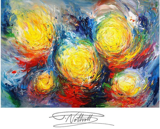 Ein abstraktes Originalgemälde in Künstler-Acrylfarben. Da die Seiten des Bildes mit bemalt sind, ist kein weiterer Rahmen nötig. Einfach auspacken und aufhängen.