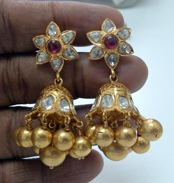 22 K solid gold Diamond polki Ruby chandelier by TRIBALEXPORT, $4299.00