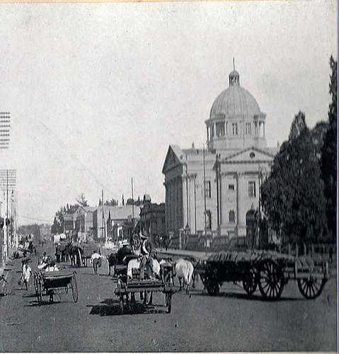 Long Market Street  detail - vehicles. Taken circa 1905. Pietermaritzburg, Natal