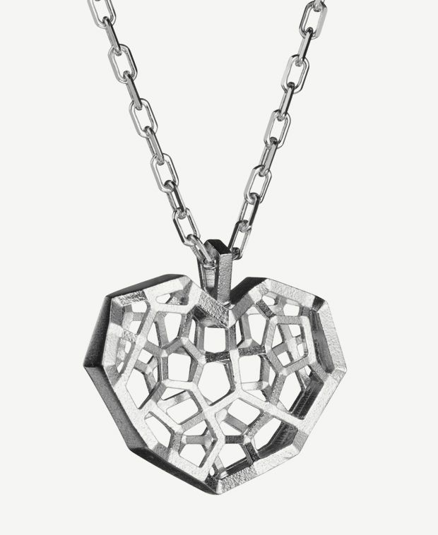 "Kristian Saarikorpi for Lumoava, ""Kristalli"" sterling silver pendant. #Finland #heart #Valentine"