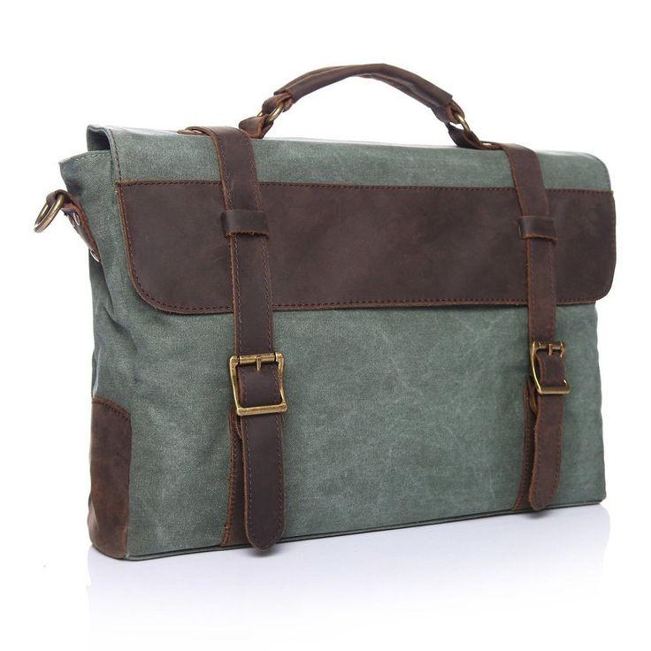 Men's Vintage Unisex Canvas Laptop Messenger Bags Briefcase
