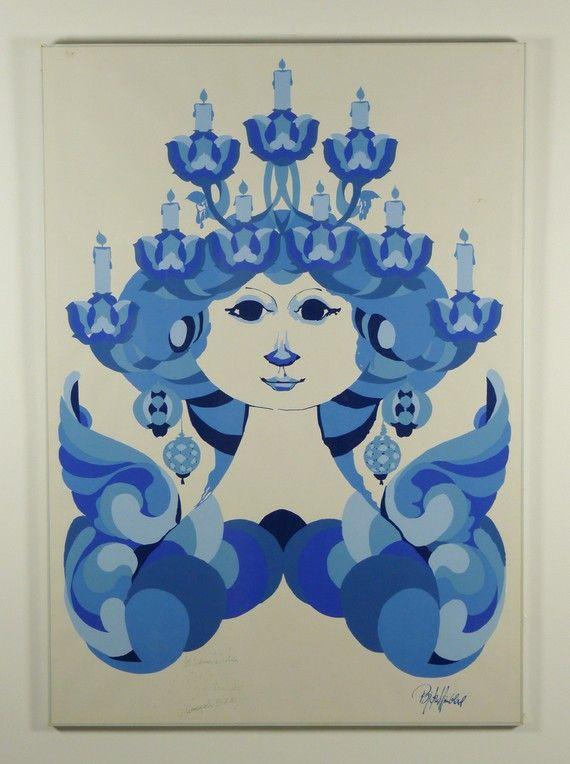 Huge Bjorn Wiinblad Poster Signed  BLUE LADY  by modernspecific