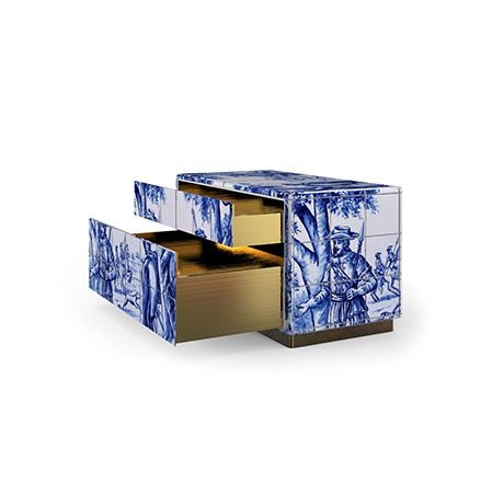 The Heritage Nightstand is influenced by the Azulejo, a landmark in Portuguese culture |  http://masterbedroomideas.eu