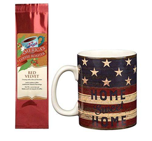 Home Sweet Home Stars Stripes Mug with Red Velvet Coffee Gift Set Bundle (2 Items)