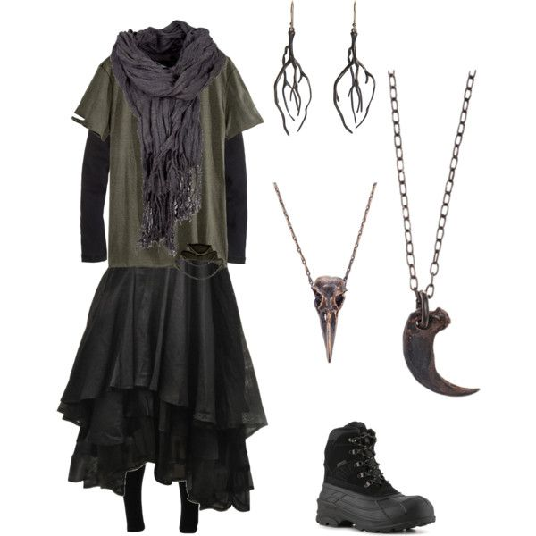 casual forest witch by nebulia on Polyvore featuring Elm, H&M, J.Crew, Solow, Parts of Four, Pamela Love, Annette Ferdinandsen, Kamik, casual and Dark