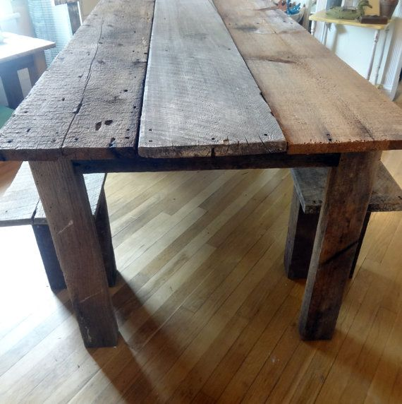 Rustic farmhouse reclaimed barn wood table and benches Furniture made from barn wood