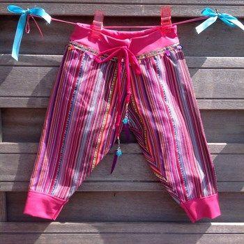 2 roze harembroekje van mooie Mexicaanse stof - Made by Beaudeliek