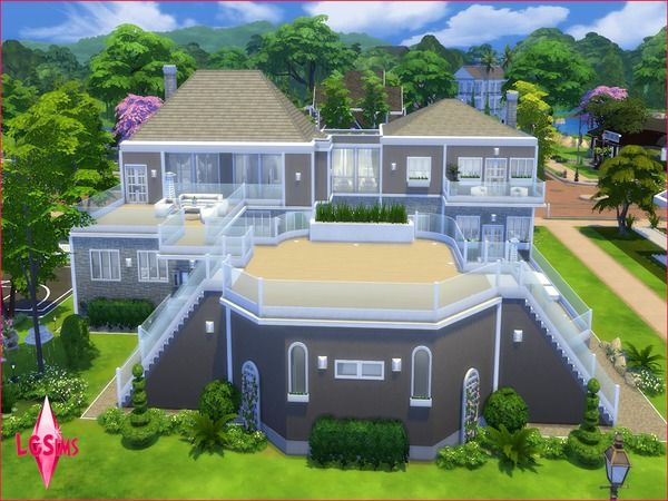 Waterfall Paradise Estate No Cc Back By Lcsims Sims 4 House Building Sims 4 House Design Sims House