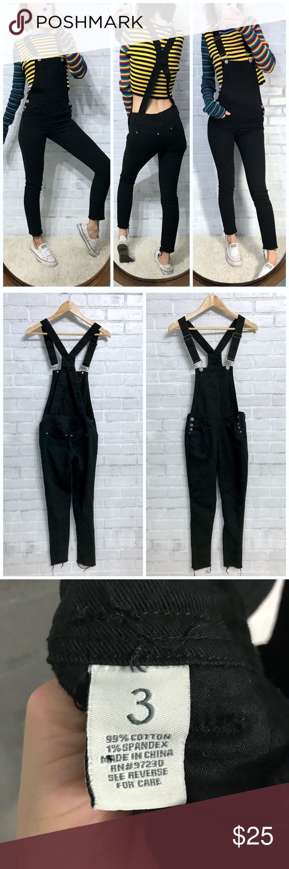 Black skinny jean denim overalls Never worn just cut the hem & washed once So so cute! Sad they are too small for me Best fit for XXS/00/23/24 not very stretchy Similar to Brandy Melville Uma overalls  For reference; I am 32/25/34 & 115 Lbs  Bundle for 10% off. No trades or holds. Ships the same or next day from a smoke free, cat friendly home in California! ❤️ Almost Famous Jeans Overalls