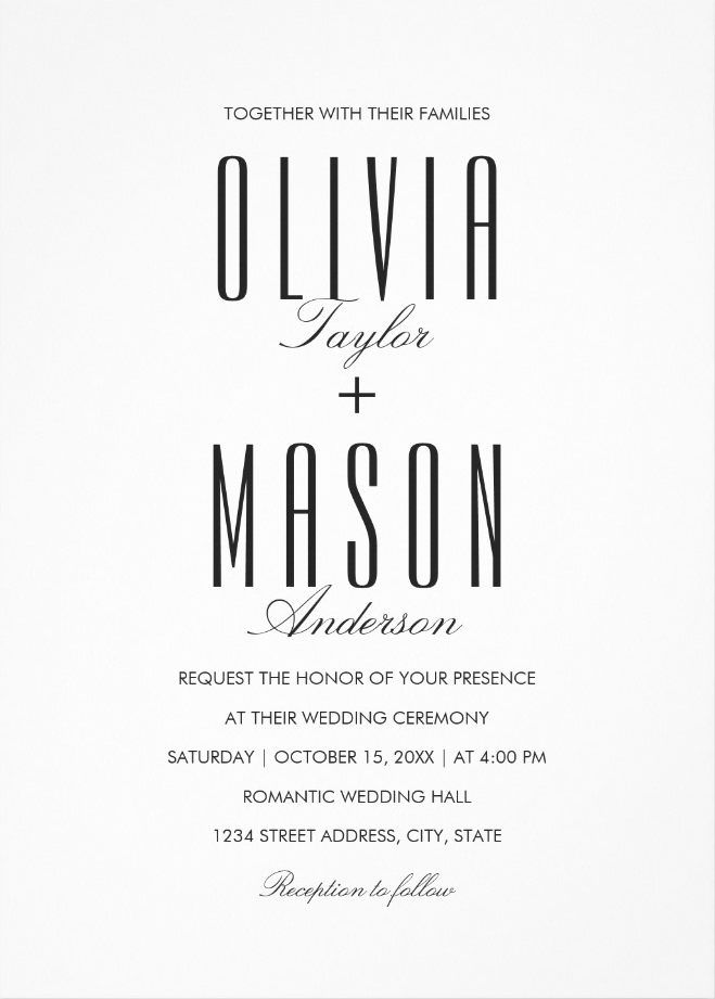 Simple Wedding Invitations – Plain Black and White Wedding Cards. Elegant wedding invitations. Feature creative modern typography. A white editable background. Perfect for formal and informal weddings. Just add your wedding details. Order your first sample today!