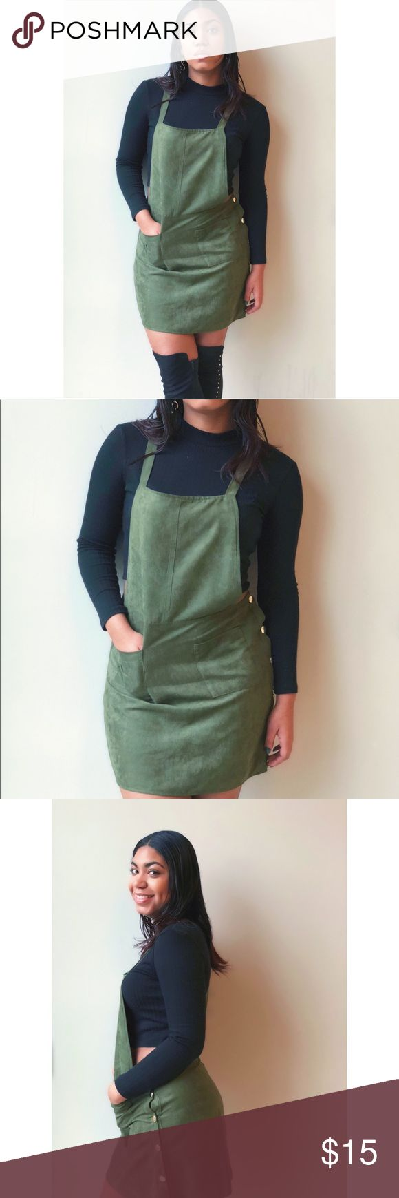 Green suede dungaree overalls It can be a dress or a skirt. The long straps allows you to wear anything underneath – from bandeaus, crop tops, t-shirts, dress tops to sweaters! Have fun with this piece! Never worn primark Dresses Midi