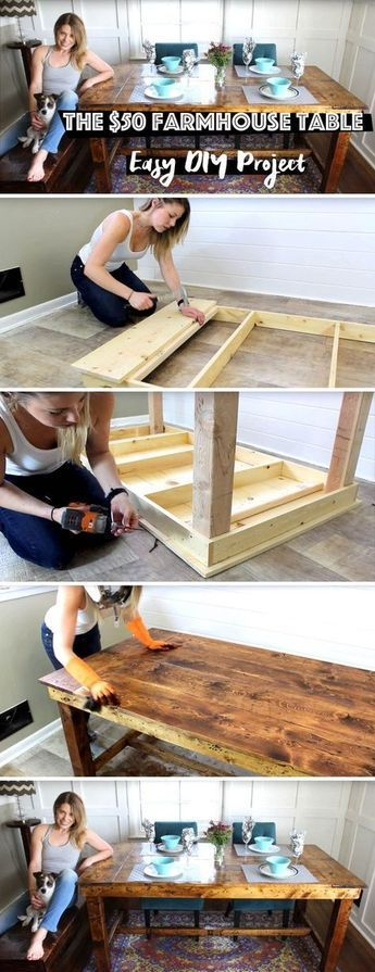 The $50 Farmhouse Table – Easy DIY Project – #diy …