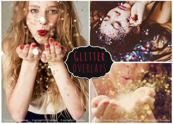 50 Blowing Glitter Photoshop Overlay by ElyseBear on Creative Market