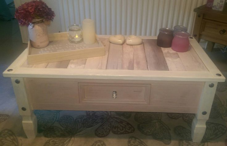 Mexican pine coffee table painted with white and antique rose autentico chalk paint, heavily distressed and decoupaged on top with stripey paper to create a gorgeous shabby chic coffee table. Clear varnish used to seal and protect.