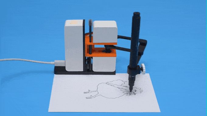 A small robot arm that draws with a pen on paper anything you draw on screen. Sketch, share and subscribe to wonderful drawings!
