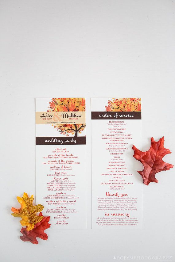 Autumn Wedding Program Fall Wedding Program Windy