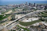 CLEVELAND, Ohio -- A partly demolished Inner Belt Bridge, the pale ribbon of its replacement, and vistas of downtown Cleveland compete for attention in recent pictures from the Ohio Department of Transportation. The concrete surface of the old Interstate 90...