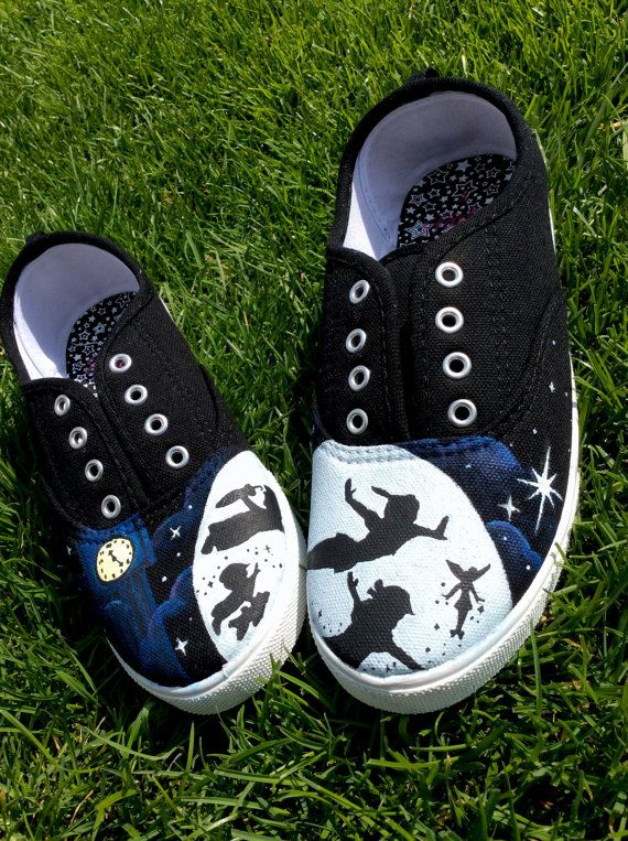 Hey, I found this really awesome Etsy listing at https://www.etsy.com/listing/231622005/handpainted-peter-pan-shoes