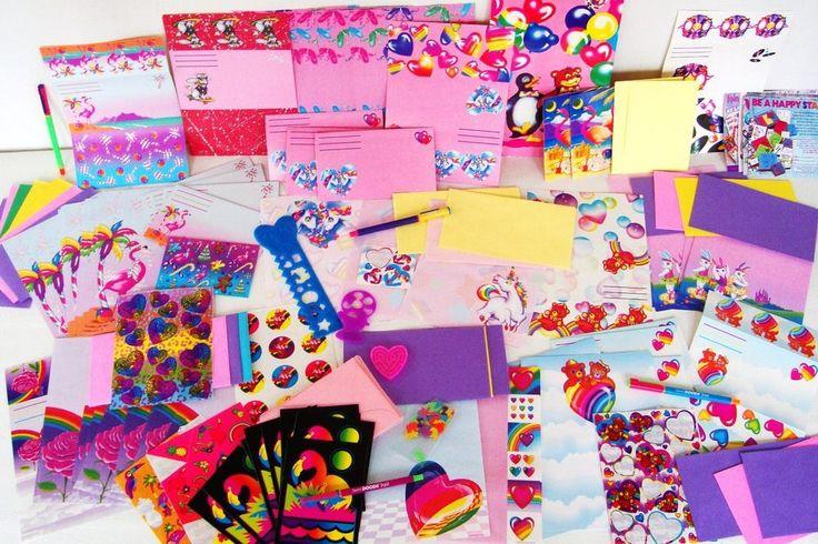 120+ Vintage 80s 90s HUGE Lisa Frank Stationary LOT Stickers Paper Pens Unicorn  #LisaFrank