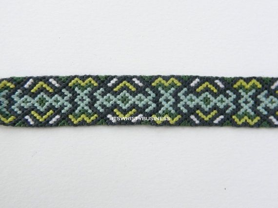String Friendship Bracelet! Handmade, Wide, Dark Green, Chartreuse, White, Charcoal Grey, Mint Blue