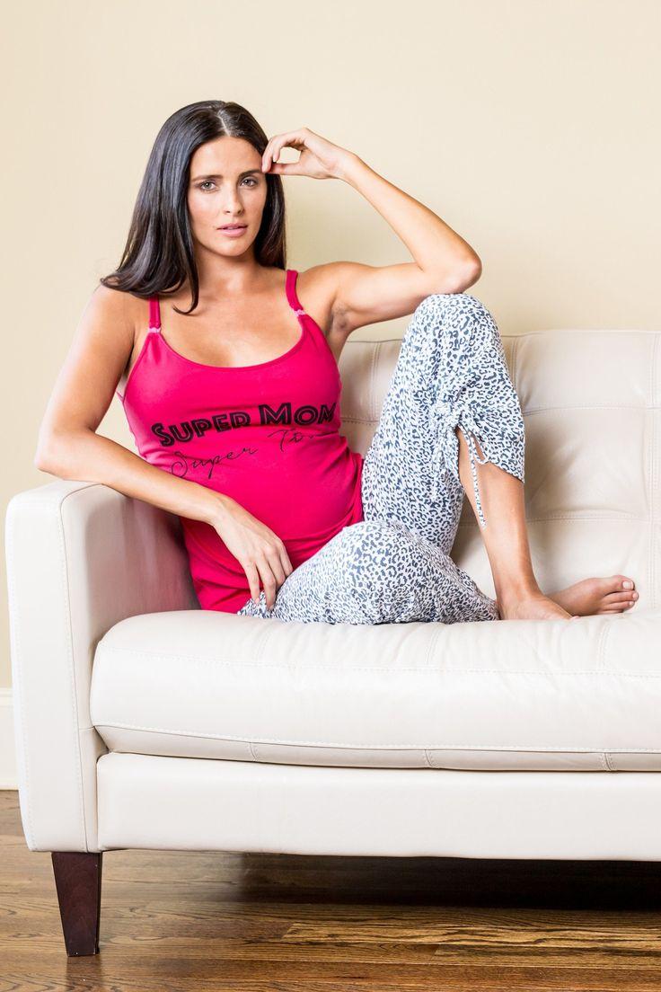 Rosette Super Mom Super Tired Maternity & Nursing Pajama Set
