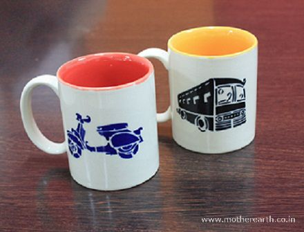 Hand painted transport Ceramic mugs for your bother this Raksha bandhan