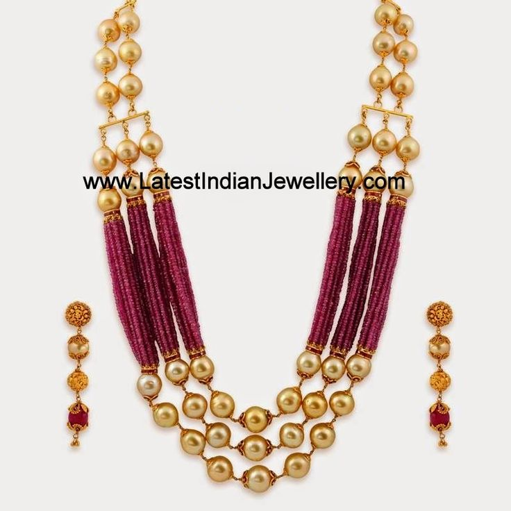 Pearl Ruby Beads Gold Statement Jewellery | Latest Indian Jewellery Designs