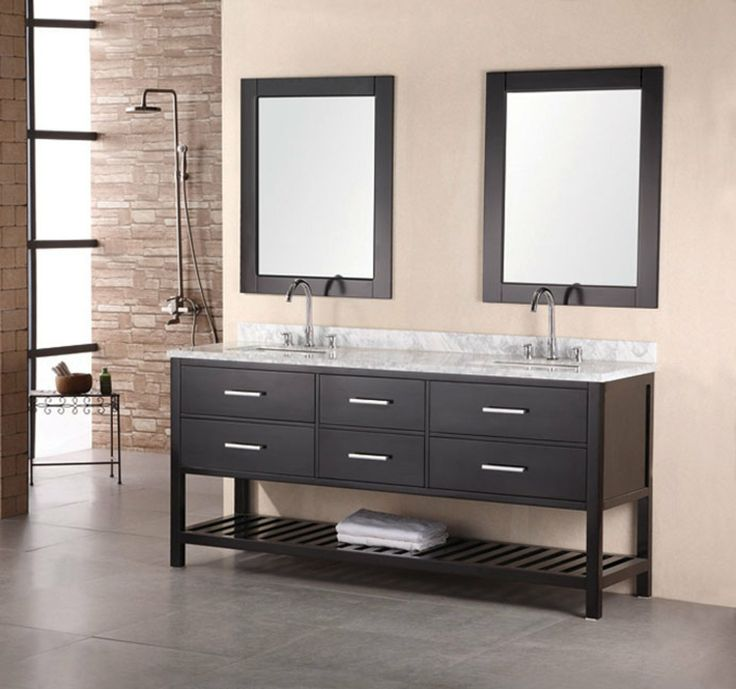 adorna 72 inch double sink bathroom vanity set solid wood cabinet carrera white marble countertop rectangular white porcelain under mount sinks