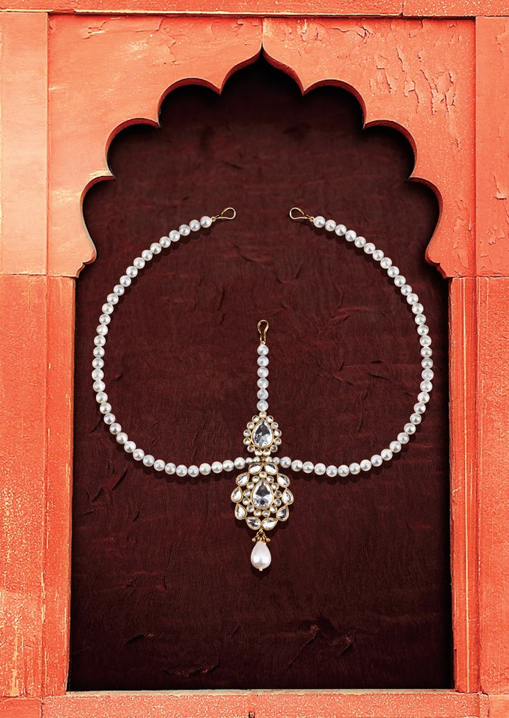 Jahanara Matha Patti   While your head's lowered during the ceremony, your jewels will still shine. Accentuate your glossy hair with this matha patti, featuring white man-made pearls for a glistening contrast. #MughalPrincess
