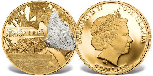 Srebrna moneta Motyl, platerowana 24-karatowym złotem