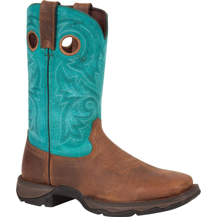 Lady Rebel by Durango Womens Turquoise Leather Steel Toe Cowboy Boots
