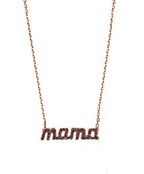 Handmade silver mama necklace, made of pink gold plated silver 925o with black zircons  Χειροποίητο ασημένιο #κολιέ_mama από ροζ επιχρυσωμένο ασήμι 925ο με μαύρα ζιργκόν