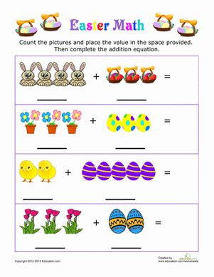 Easter Kindergarten Addition Worksheets: Easter Picture Addition