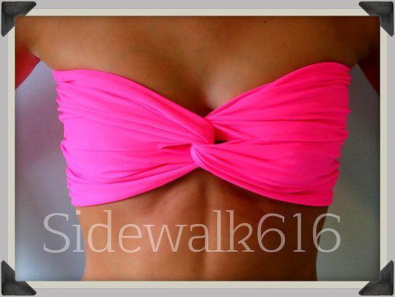 Pink Bandeau Top Spandex Bandeau Bikini Bandeau by Sidewalk616